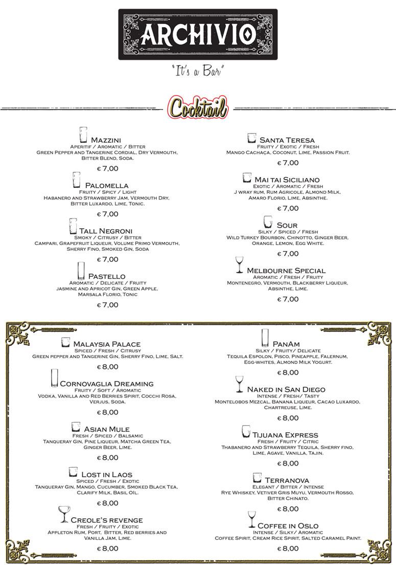 Archivio Verona Cocktail list